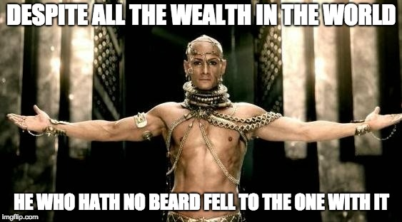 300 Generous God | DESPITE ALL THE WEALTH IN THE WORLD HE WHO HATH NO BEARD FELL TO THE ONE WITH IT | image tagged in 300 generous god | made w/ Imgflip meme maker