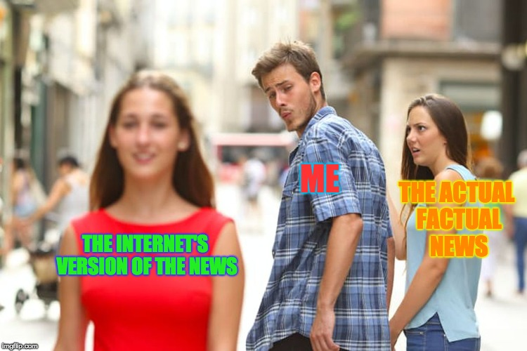 THE INTERNET'S VERSION OF THE NEWS ME THE ACTUAL FACTUAL NEWS | image tagged in memes,distracted boyfriend | made w/ Imgflip meme maker