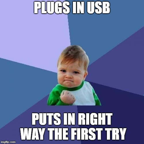 Success Kid Meme | PLUGS IN USB PUTS IN RIGHT WAY THE FIRST TRY | image tagged in memes,success kid,usb | made w/ Imgflip meme maker