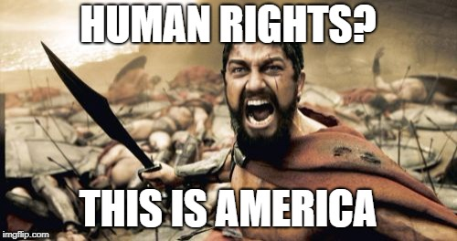 Sparta Leonidas Meme | HUMAN RIGHTS? THIS IS AMERICA | image tagged in memes,sparta leonidas | made w/ Imgflip meme maker