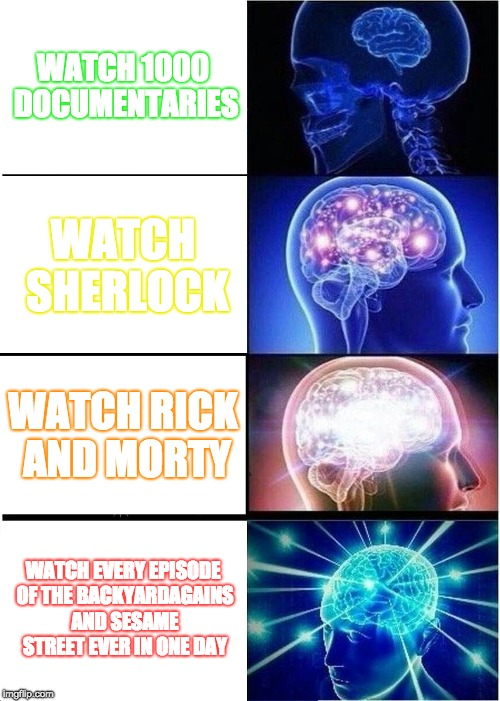 HAU TWO WATSH TV GUD | WATCH 1000 DOCUMENTARIES WATCH SHERLOCK WATCH RICK AND MORTY WATCH EVERY EPISODE OF THE BACKYARDAGAINS AND SESAME STREET EVER IN ONE DAY | image tagged in memes,expanding brain | made w/ Imgflip meme maker