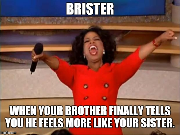 Oprah You Get A Meme | BRISTER WHEN YOUR BROTHER FINALLY TELLS YOU HE FEELS MORE LIKE YOUR SISTER. | image tagged in memes,oprah you get a | made w/ Imgflip meme maker