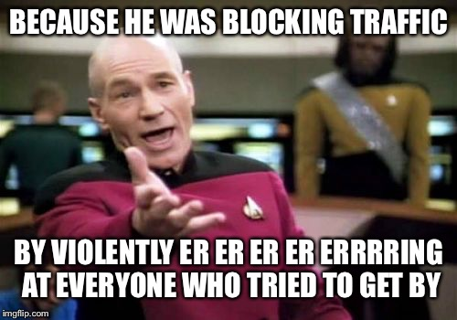 Picard Wtf Meme | BECAUSE HE WAS BLOCKING TRAFFIC BY VIOLENTLY ER ER ER ER ERRRRING AT EVERYONE WHO TRIED TO GET BY | image tagged in memes,picard wtf | made w/ Imgflip meme maker
