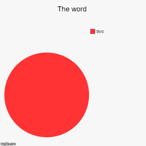 The word | Bird | image tagged in funny,pie charts | made w/ Imgflip pie chart maker