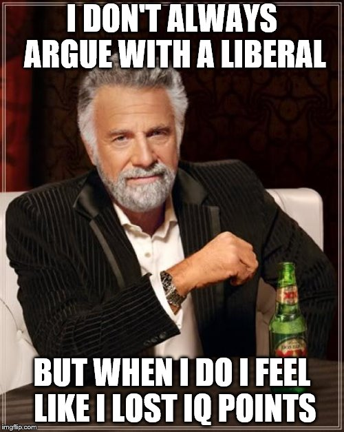 The Most Interesting Man In The World Meme | I DON'T ALWAYS ARGUE WITH A LIBERAL BUT WHEN I DO I FEEL LIKE I LOST IQ POINTS | image tagged in memes,the most interesting man in the world | made w/ Imgflip meme maker
