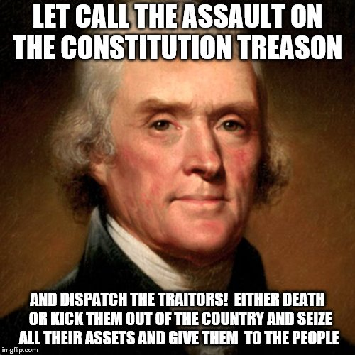 Thomas Jefferson Meme | LET CALL THE ASSAULT ON THE CONSTITUTION TREASON AND DISPATCH THE TRAITORS!  EITHER DEATH  OR KICK THEM OUT OF THE COUNTRY AND SEIZE ALL THE | image tagged in thomas jefferson meme | made w/ Imgflip meme maker
