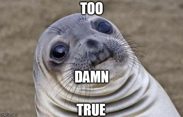 Awkward Moment Sealion Meme | TOO TRUE DAMN | image tagged in memes,awkward moment sealion | made w/ Imgflip meme maker