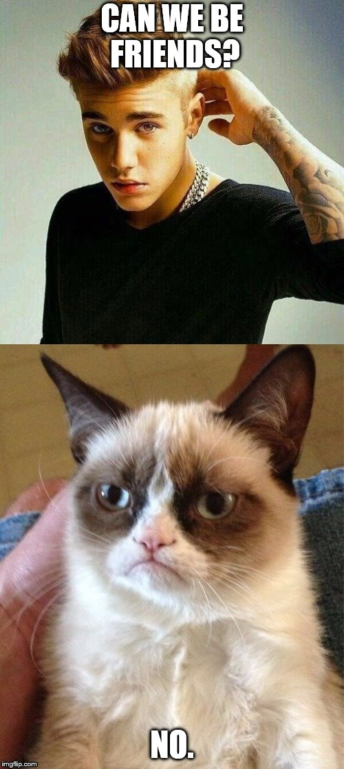 CAN WE BE FRIENDS? NO. | image tagged in justin bieber and grumpy cat | made w/ Imgflip meme maker