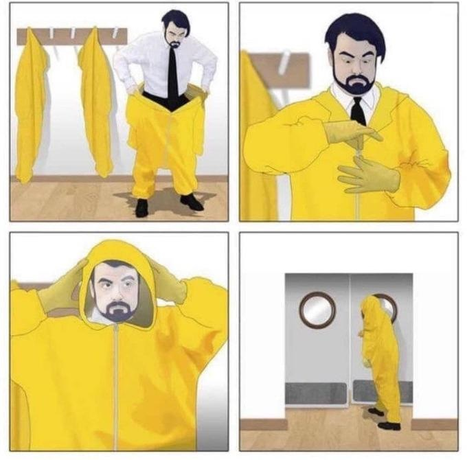 man putting on hazmat suit Blank Template - Imgflip