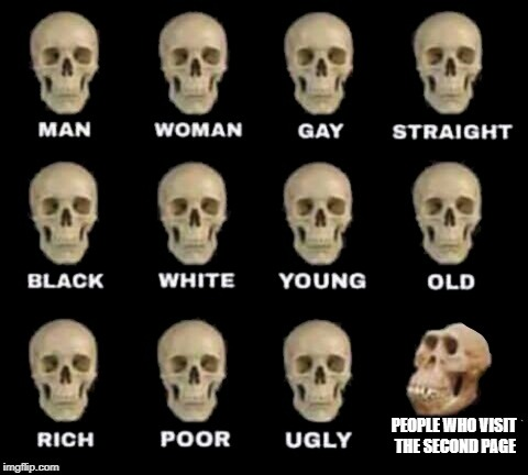 idiot skull | PEOPLE WHO VISIT THE SECOND PAGE | image tagged in idiot skull | made w/ Imgflip meme maker