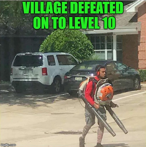 village defeated | VILLAGE DEFEATED ON TO LEVEL 10 | image tagged in video game | made w/ Imgflip meme maker