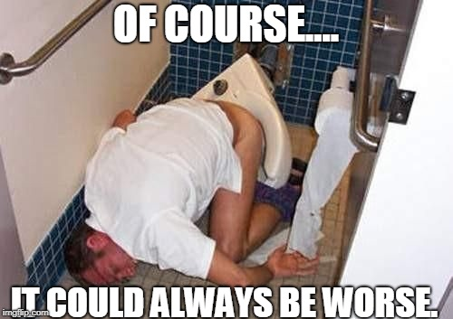 OF COURSE.... IT COULD ALWAYS BE WORSE. | image tagged in toilet fail | made w/ Imgflip meme maker