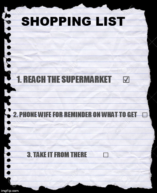 A Man's Shopping List | SHOPPING LIST 2. PHONE WIFE FOR REMINDER ON WHAT TO GET    ☐ 3. TAKE IT FROM THERE             ☐ 1. REACH THE SUPERMARKET       ☑ | image tagged in blank paper,shopping list,memes | made w/ Imgflip meme maker
