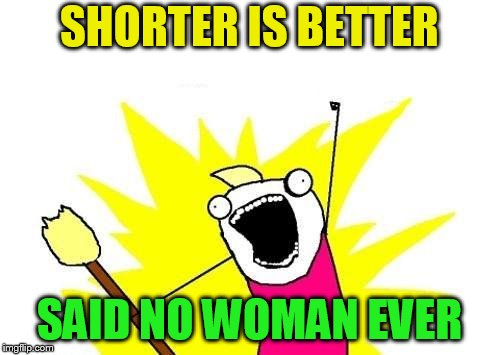 X All The Y Meme | SHORTER IS BETTER SAID NO WOMAN EVER | image tagged in memes,x all the y | made w/ Imgflip meme maker