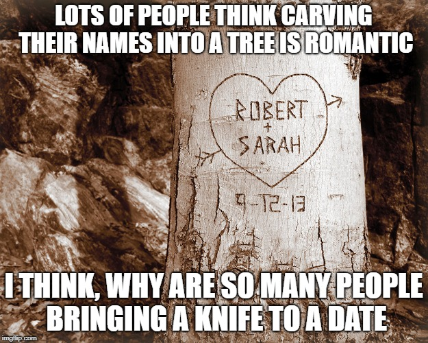 Show some love if you think this is funny ! | LOTS OF PEOPLE THINK CARVING THEIR NAMES INTO A TREE IS ROMANTIC I THINK, WHY ARE SO MANY PEOPLE BRINGING A KNIFE TO A DATE | image tagged in daily funny,joke,humor,hope it makes you laugh | made w/ Imgflip meme maker
