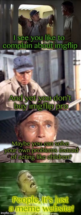 Recycle yourself | I see you like to complain about imgflip And yet you don't buy imgflip pro Maybe you can solve your own problems instead of acting like chil | image tagged in bad pun soylent green,memes,soylent green,imgflip,whiners | made w/ Imgflip meme maker