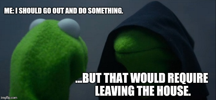 Evil Kermit Meme | ME: I SHOULD GO OUT AND DO SOMETHING. ...BUT THAT WOULD REQUIRE LEAVING THE HOUSE. | image tagged in memes,evil kermit | made w/ Imgflip meme maker