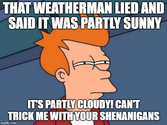 Futurama Fry Meme | THAT WEATHERMAN LIED AND SAID IT WAS PARTLY SUNNY IT'S PARTLY CLOUDY! CAN'T TRICK ME WITH YOUR SHENANIGANS | image tagged in memes,futurama fry | made w/ Imgflip meme maker