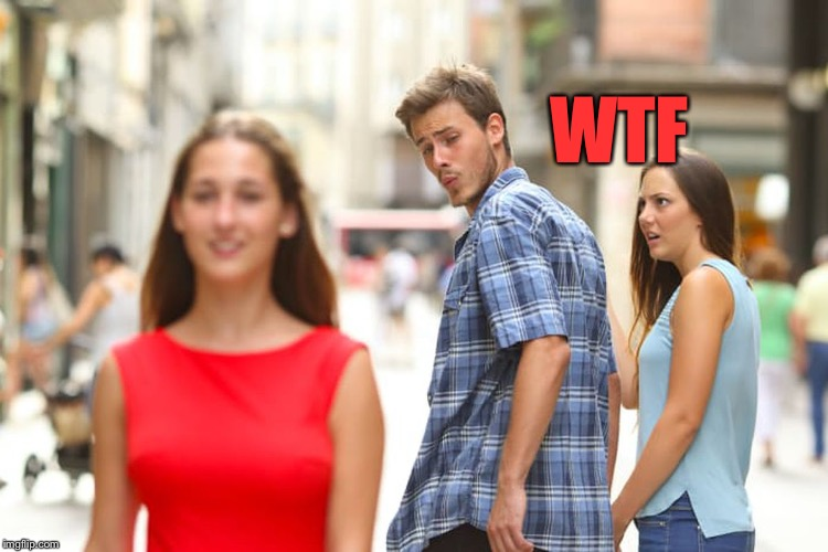 Distracted Boyfriend Meme | WTF | image tagged in memes,distracted boyfriend | made w/ Imgflip meme maker