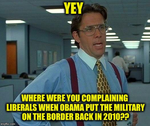 Liberals: the hypocrites who never stop | YEY WHERE WERE YOU COMPLAINING LIBERALS WHEN OBAMA PUT THE MILITARY ON THE BORDER BACK IN 2010?? | image tagged in memes,that would be great,libtards,liberal logic,liberal hypocrisy,secure the border | made w/ Imgflip meme maker