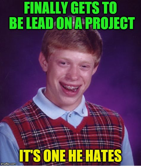 Bad Luck Brian Meme | FINALLY GETS TO BE LEAD ON A PROJECT IT'S ONE HE HATES | image tagged in memes,bad luck brian | made w/ Imgflip meme maker