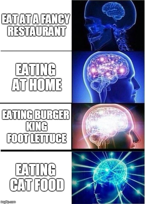 Expanding Brain Meme | EAT AT A FANCY RESTAURANT EATING AT HOME EATING BURGER KING FOOT LETTUCE EATING CAT FOOD | image tagged in memes,expanding brain | made w/ Imgflip meme maker
