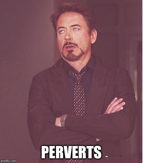 Face You Make Robert Downey Jr Meme | PERVERTS | image tagged in memes,face you make robert downey jr | made w/ Imgflip meme maker