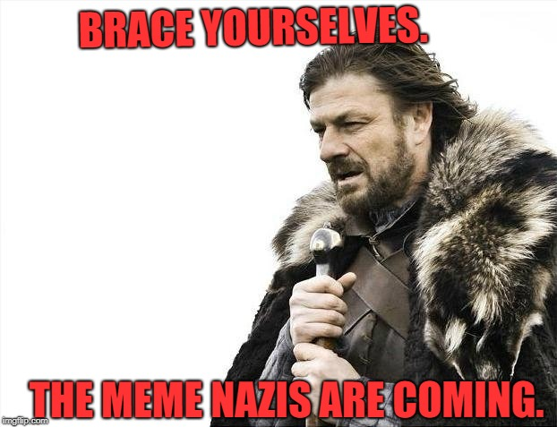 Brace Yourselves X is Coming Meme | BRACE YOURSELVES. THE MEME NAZIS ARE COMING. | image tagged in memes,brace yourselves x is coming | made w/ Imgflip meme maker