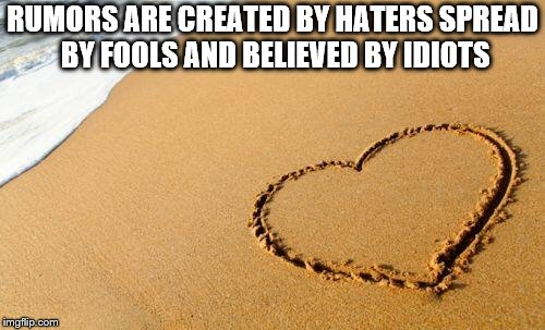 Beach Heart  | RUMORS ARE CREATED BY HATERS SPREAD BY FOOLS AND BELIEVED BY IDIOTS | image tagged in beach heart | made w/ Imgflip meme maker