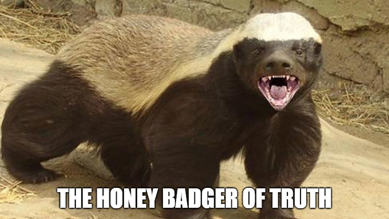 THE HONEY BADGER OF TRUTH | image tagged in honey badger | made w/ Imgflip meme maker