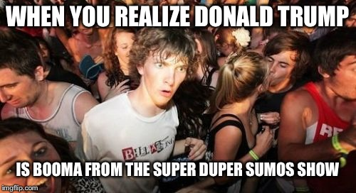 Sudden Clarity Clarence Meme | WHEN YOU REALIZE DONALD TRUMP IS BOOMA FROM THE SUPER DUPER SUMOS SHOW | image tagged in memes,sudden clarity clarence | made w/ Imgflip meme maker
