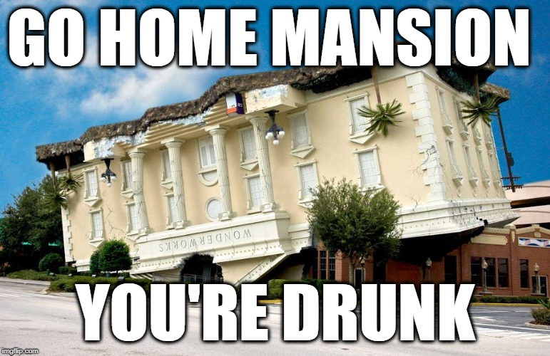 GO HOME MANSION YOU'RE DRUNK | image tagged in mansion | made w/ Imgflip meme maker