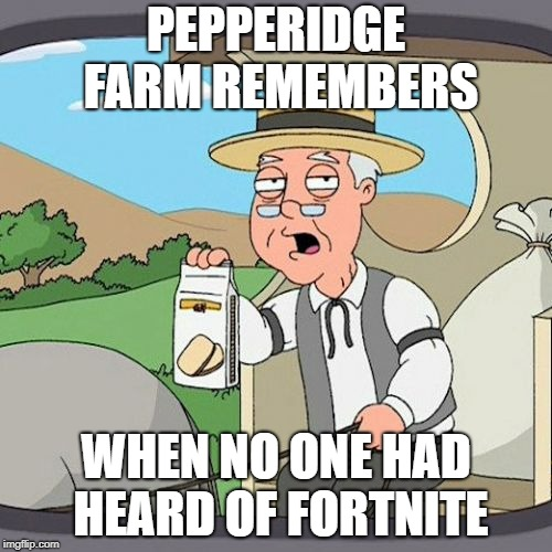 Pepperidge Farm Remembers Meme | PEPPERIDGE FARM REMEMBERS WHEN NO ONE HAD HEARD OF FORTNITE | image tagged in memes,pepperidge farm remembers | made w/ Imgflip meme maker