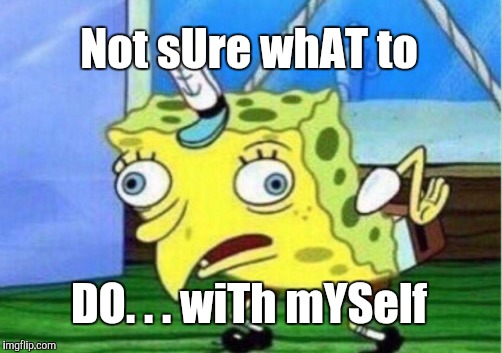 Mocking Spongebob Meme | Not sUre whAT to DO. . . wiTh mYSelf | image tagged in memes,mocking spongebob | made w/ Imgflip meme maker
