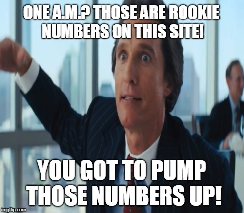 So you meme and flip until one A.M.?  | ONE A.M.? THOSE ARE ROOKIE NUMBERS ON THIS SITE! YOU GOT TO PUMP THOSE NUMBERS UP! | image tagged in rookie numbers,wolf of wall street,late night,imflip,memes | made w/ Imgflip meme maker