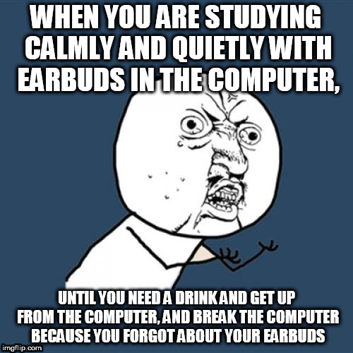 Y U No Meme | WHEN YOU ARE STUDYING CALMLY AND QUIETLY WITH EARBUDS IN THE COMPUTER, UNTIL YOU NEED A DRINK AND GET UP FROM THE COMPUTER, AND BREAK THE CO | image tagged in memes,y u no | made w/ Imgflip meme maker