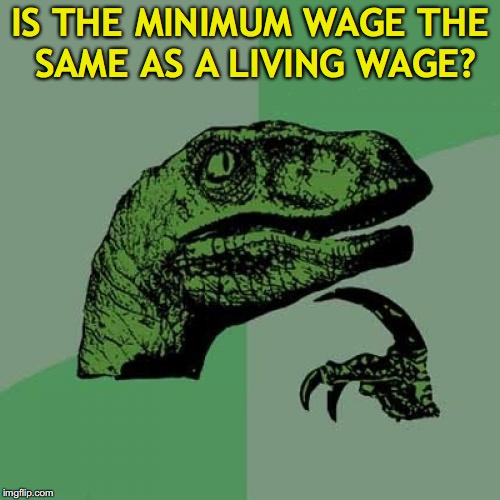 Philosoraptor Meme | IS THE MINIMUM WAGE THE SAME AS A LIVING WAGE? | image tagged in memes,philosoraptor | made w/ Imgflip meme maker