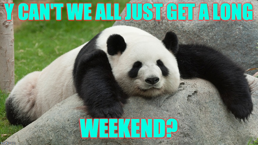 Panda Anti-Express: Spring break is almost over... aaand I'm ready for my next break. | Y CAN'T WE ALL JUST GET A LONG WEEKEND? | image tagged in memes,spring break,panda anti-express | made w/ Imgflip meme maker