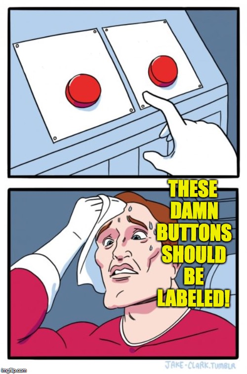 Just pick one. What's the worst that could happen? | THESE DAMN BUTTONS SHOULD BE LABELED! | image tagged in memes,two buttons | made w/ Imgflip meme maker