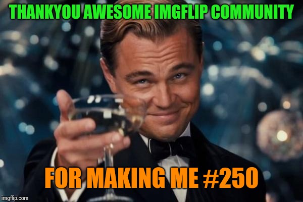 Thankyou all for making me feel welcme!(and making me laugh til I can't breathe) | THANKYOU AWESOME IMGFLIP COMMUNITY FOR MAKING ME #250 | image tagged in memes,leonardo dicaprio cheers,thankyou | made w/ Imgflip meme maker
