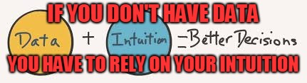 IF YOU DON'T HAVE DATA YOU HAVE TO RELY ON YOUR INTUITION | made w/ Imgflip meme maker