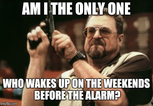 When I can finally sleep in. | AM I THE ONLY ONE WHO WAKES UP ON THE WEEKENDS BEFORE THE ALARM? | image tagged in memes,am i the only one around here | made w/ Imgflip meme maker
