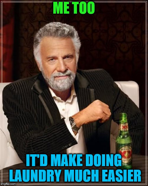 The Most Interesting Man In The World Meme | ME TOO IT'D MAKE DOING LAUNDRY MUCH EASIER | image tagged in memes,the most interesting man in the world | made w/ Imgflip meme maker
