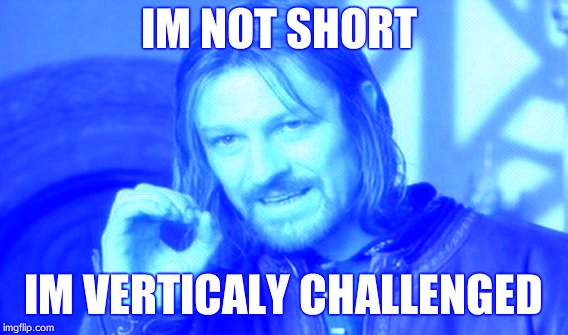 One Does Not Simply Meme | IM NOT SHORT IM VERTICALY CHALLENGED | image tagged in memes,one does not simply | made w/ Imgflip meme maker