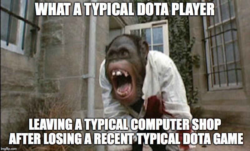 Angry Monkey |  WHAT A TYPICAL DOTA PLAYER; LEAVING A TYPICAL COMPUTER SHOP AFTER LOSING A RECENT TYPICAL DOTA GAME | image tagged in angry monkey,memes,dota | made w/ Imgflip meme maker
