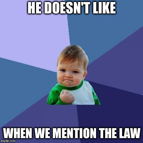 Success Kid Meme | HE DOESN'T LIKE WHEN WE MENTION THE LAW | image tagged in memes,success kid | made w/ Imgflip meme maker