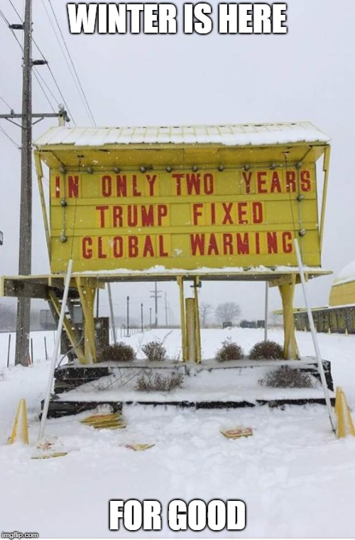 WINTER IS HERE FOR GOOD | image tagged in memes,global warming,winter is here,donald trump,president trump,climate change | made w/ Imgflip meme maker
