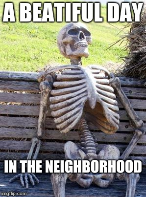 Waiting Skeleton Meme | A BEATIFUL DAY IN THE NEIGHBORHOOD | image tagged in memes,waiting skeleton | made w/ Imgflip meme maker