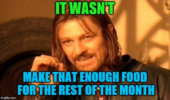 One Does Not Simply Meme | IT WASN'T MAKE THAT ENOUGH FOOD FOR THE REST OF THE MONTH | image tagged in memes,one does not simply | made w/ Imgflip meme maker