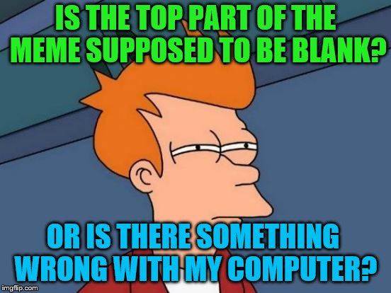 Futurama Fry Meme | IS THE TOP PART OF THE MEME SUPPOSED TO BE BLANK? OR IS THERE SOMETHING WRONG WITH MY COMPUTER? | image tagged in memes,futurama fry | made w/ Imgflip meme maker